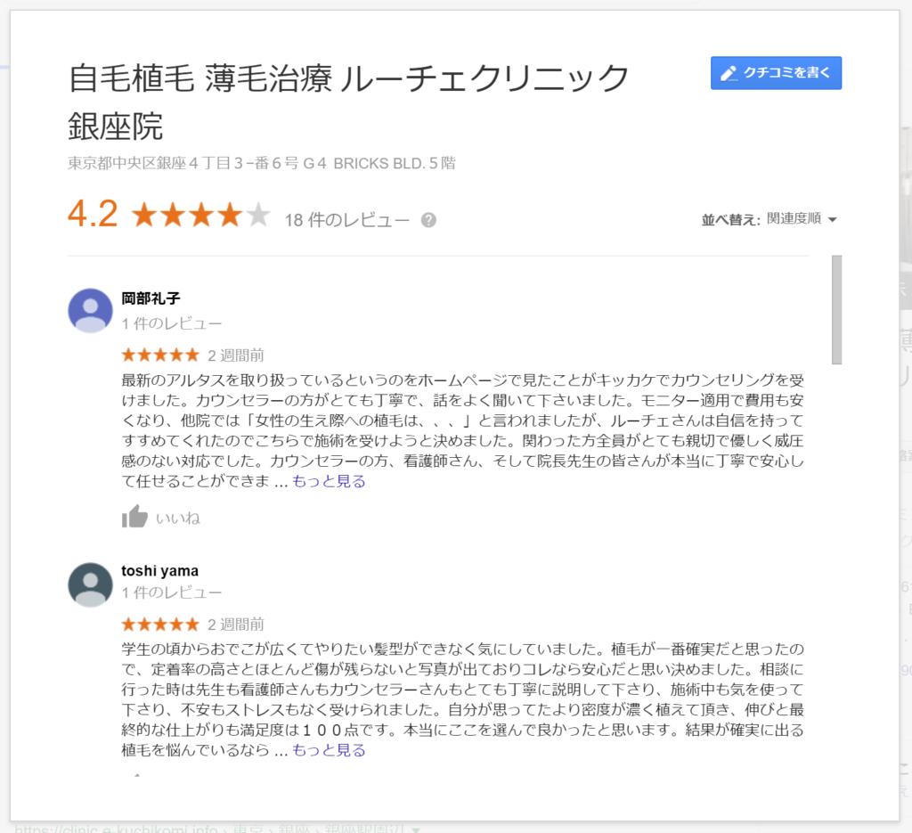 ルーチェクリニックのGoogle口コミ評価